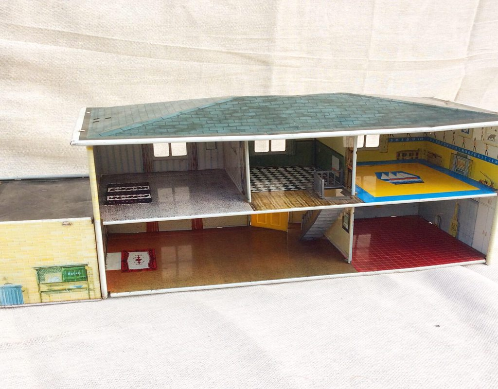 Mid Century Tin Plate Dolls House. Possibly Chad Valley.