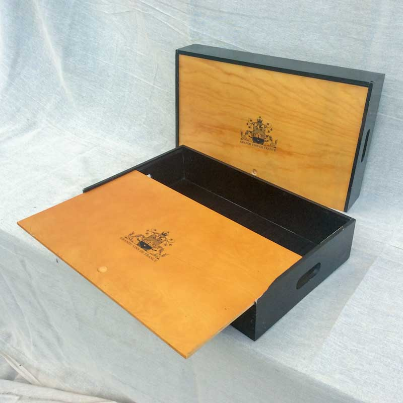 Unusual pair of French Wine Boxes. Sliding tops with cut-out handles to the sides.