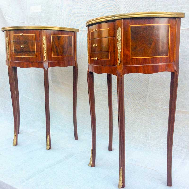 Beautiful Pair of Reproduction, Inlaid, 3 Drawer, French Style Bedside Tables. Made in the French Style, in very good condition.