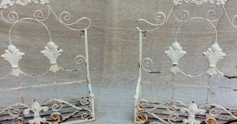 Pair of White Wrought Iron Weathered Wall Planters